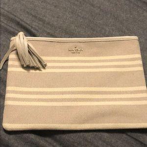 Kate Spade neutral striped clutch pouch